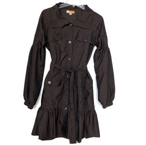 Anthropologie Tulle Ruffled Trench Coat Jacket